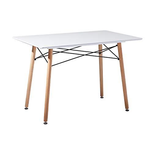 DORAFAIR Rechteckig Esstisch Weiß Küchentisch Modern Büro Konferenztisch Kaffeetisch,Skandinavisch Esszimmertisch mit Holzrahmen,110 * 70 * 73cm -