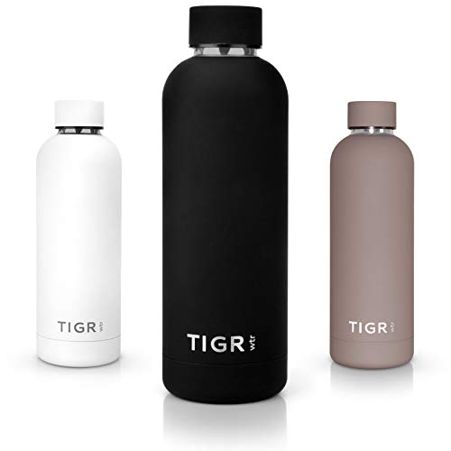TIGR Thermoflasche aus Edelstahl | Thermoskanne für Heiß & Kalt | Reise-, Sport- & Campingzubehör | Thermisch isoliert & vakuumversiegelt | Für Wasser-, Kaffee-, Tee- & Saft | Schwarz | 0,5 L - Schwarz Saft