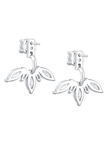 Elli Damen Floral Ear Jackets Front Back Glamour Zirkonia silber 925