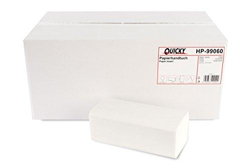 Quicky Papierhandtuch, ZZ-Falz, 25 x 23 cm, 2lag, hochweiß, 4000 Blatt, 1er Pack (1 x 1 Stück)