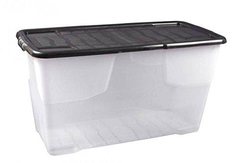 """XXL Aufbewahrungsbox\""""Curve\"""" mit Deckel aus transparentem Kunststoff. Nutzvolumen von ca. 100 Liter. Stapelbar und nestbar. Maße BxTxH in cm: 80 x 40 x 48"""