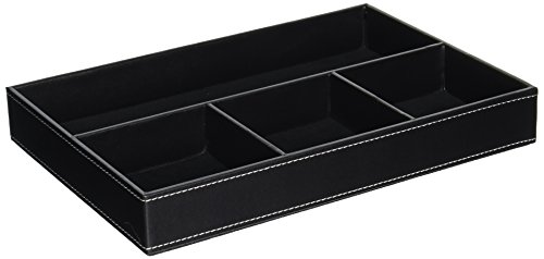 UnionBasic Flat 4-Slot Leather Drawer Tray Desk Stationery Sundries Gadget Organizer Storage Box Pen Pencil Holder Case Container (Black) by UnionBasic -
