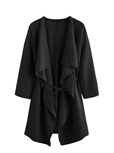 DIDK Damen Mantel Trenchcoat,3/4 Ärmel unregelmäßige Mantel Mit Wasserfallkragen Tasche Outwear...