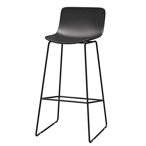 LJFYXZ Barhocker Moderne Einfachheit Barmöbel Mit Rückenlehne Frühstücksstuhl Metallrahmen Hoher Hocker Bürorestaurant Sitzhöhe 65/70 / 75cm (Farbe : SCHWARZ, größe : 65cm) - Moderne Hohe Rückenlehne, Barhocker