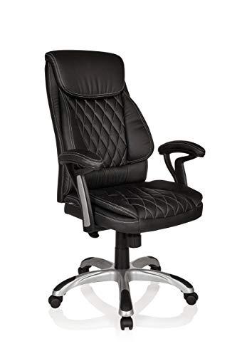 hjh OFFICE 621950 XXL Chefsessel MANERA Kunstleder Schwarz/Weiß eleganter Bürosessel mit bequemer Polsterung