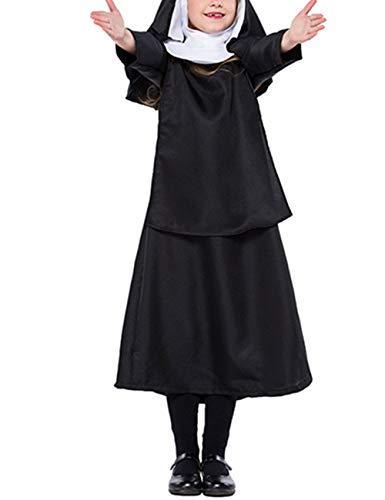 zhxinashu Kinder Schwarze Uniform Nonne Kleid - Bühne Cosplay Jesus Christ Halloween Kostüm S-(100-115) (Nonne Kostüm Für Kinder)