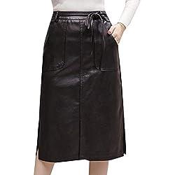 Andopa Durante ajustado de cintura delgada una línea de Falda de cuero Falda para Mujeres XL Negro