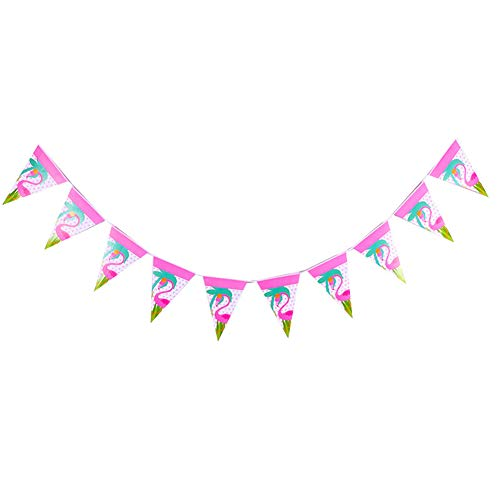 Moolila Flamingo Party Arrangement Supplies Requisiten Wimpel DIY Handarbeit Zubehör Hängende Papierflagge Dekoration A Set m Banner-B