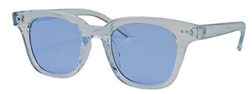 Retro Sonnenbrille in transparenten Candy Farben mit farbigen getönten Gläsern WF41 (Blau)