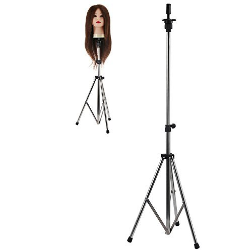 Adjustable Aluminum Metal Tripod Stand Holder Hairdressing Training Head Mold Mannequin Holder Salon Hair Clamp With Carrying Bag 80-133CM Test