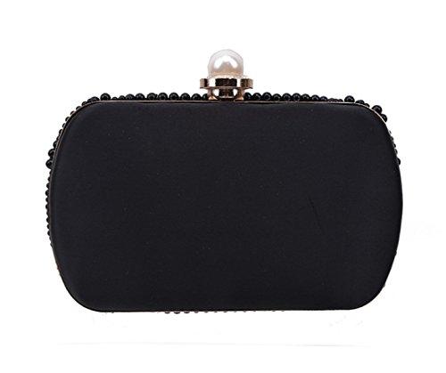 POKWAI Frauen 2017 Clutch Bag Hard Case Geldbörse Funkelnde Handtasche Mit Kettengurt Diamant Handgemachte Perle Bohrer Black