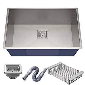 "CROCODILE ® 304 Grade Stainless Steel Single Bowl Sink Satin/MATT Finish with Square Coupling (24"" x 18"" x 10"")"
