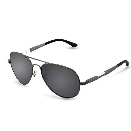 Duco Unisex Aviator Stil Polarisiert Sonnenbrille, Pilotenbrille mit Federscharnier, Etui und Putztuch, 3026 (Gestell: Gunmetal, Gläser: Grau)