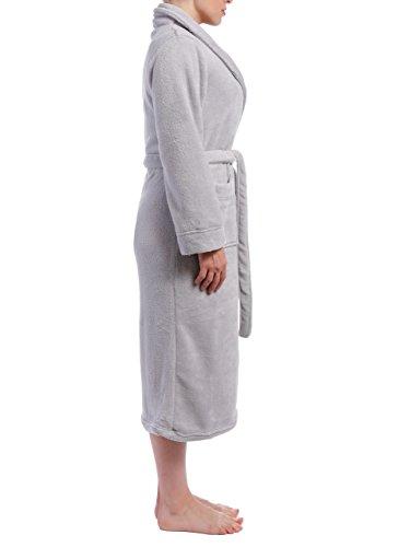Twin Boat Robe de Chambre en Coral Polaire pour Femme Gris