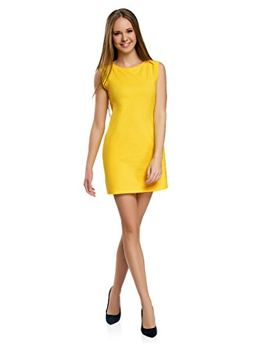 oodji Ultra Donna Abito piqué Giallo IT 40 / EU 36 / XS