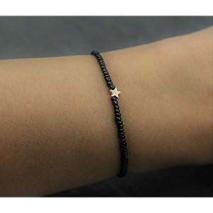 Armband Schwarz Perlen Rose Gold Stern Hämatit Perle Elastisch Zierlich Freundschaftsarmband Filigran Schmuck