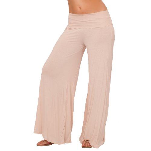 Pantaloni donna lunghi casual stile gaucho a campana vita ripiegabile