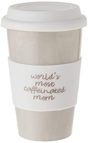 Mom Life World 's die meisten Koffein Tan 10oz Reise Kaffee Tasse Mit Silikon Deckel, Keramik, beige, 10Unze