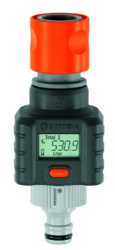 Gardena 8188-20 Wasserzähler, großes Display, eine Taste für alle Funktionen, Batteriestandsanzeige, 4 Programme (Anwendung: Zur Kontrolle des Wasserverbrauchs)