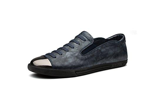 Chaussures Homme Vintage Loafers Lacet Fermeture Eclair Bleu