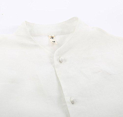 SK Studio -  Camicia Casual  - Tunica - Basic - Collo mao  - Maniche corte  - Uomo Bianco