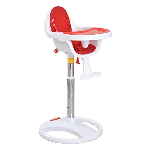 Kinderhochstuhl Babyhochstuhl Treppenhochstuhl Kinderstuhl Plastikhochstuhl mit EVA Sitzkisse (Rot)