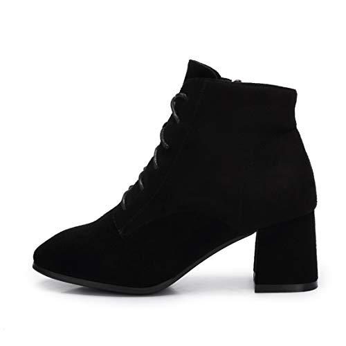 Cute girl Mode England Wildleder Stiefel Elegante Moderne Reißverschluss High Heel Stiefeletten Black Velvet Pad,39 -