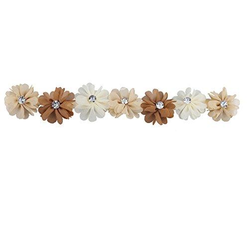 infarben Pfirsich und braun Chiffon Blume Krone Headwrap Stirnband ()