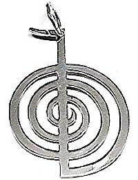 Colgante plata ley 925m liso 35mm. chokurei símbolo energía [AA7774]