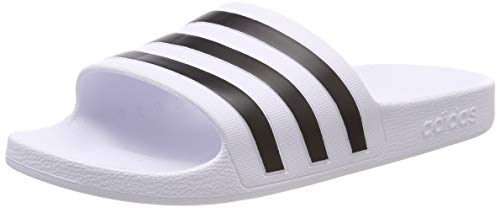 Adidas adilette aqua scarpe da spiaggia e piscina unisex adulto, bianco (footwear white/core black/footwear white 0), 43 eu
