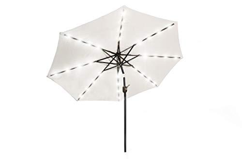 909 OUTDOOR Sonnenschirm mit LED Beleuchtung und Solarsystem Ø 270 cm, Gartenschirm für Terrasse & Garten mit 32 LED Leuchten, verstellbar mit Kurbelvorrichtung, Polyester & Stahl (Creme)