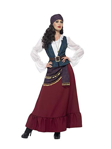 Smiffys 45534S - Damen Piraten Seeräuber Beauty Kostüm, Kleid, Schärpe, Kopftuch und Kette, Größe: 36-38, ()