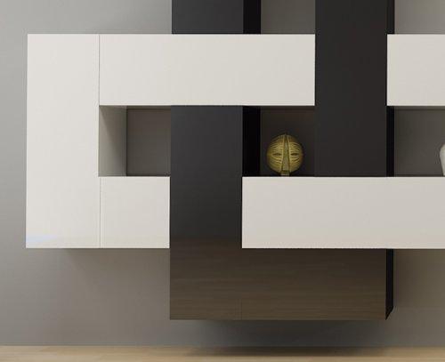 12-teilige modulare Designer Hochglanz Wohnwand Briks I mit großer Farbauswahl - 2