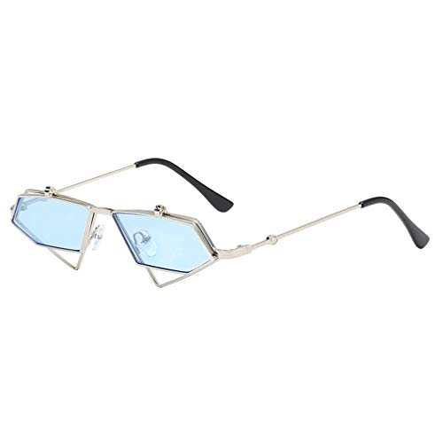 Qiansu flip up steampunk occhiali da sole uomo vintage clear red blue gold metal frame triangle occhiali da sole per donna uv400 c10