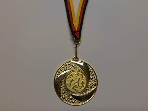 100 Stück Medaillen - aus Metall 50mm - mit Einem Alu Emblem, Leichtathletik - Logo - inkl. Medaillen Band - Farbe: Gold - Kinder - Speerwurf - Hochsprung - Laufen - Weitsprung - usw. - (e219) -
