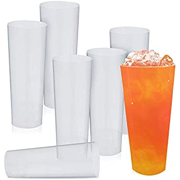 7e164ba31d2 40 Clear Reusable Plastic High Ball Glasses, 300ML - Durable & Unbreakable Slim  Jim, Tall Glass, Pimms Tumblers - Disposable & Recyclable Plastic Cups| ...