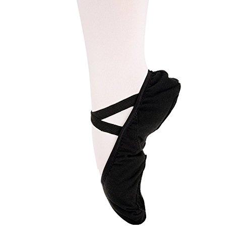 Scarpette da danza, da mezza punta, in tela, suola spezzata, varie misure per bambini e adulti nero eu 25