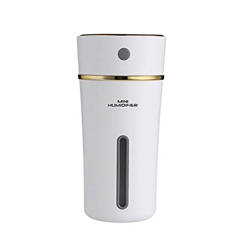 Difusor ultrasónico Humidificador de Aire 300ML Difusor de Aceite Esencial Lámpara de Aroma 500Mah con Pilas, Dormitorio Sala de Estar,Blanco