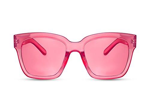 Cheapass Sonnenbrille Damen Rosa Pink Groß XXL Brille Oversized Plastik Frauen Mädchen