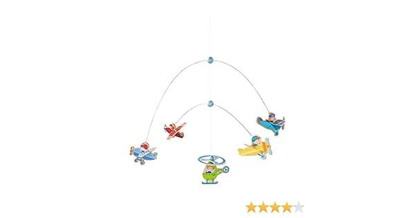 Giostrina da appendere con aeroplani colorati e elicotteri in legno Haba 302879 giocattolo in legno e metallo