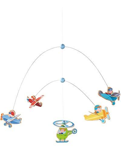 Haba 302879 - Mobile Flotte Flieger | Mobile zum Aufhängen mit bunten Flugzeugen und Hubschrauber aus Holz | Baby-Spielzeug aus Holz und Metall