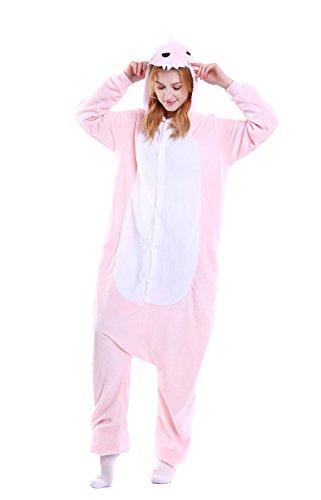 LazLake Jumpsuit Tier Fasching pyjama Kostüm Onesie Overall Schlafanzug Erwachsene Unisex Kigurumi Pink Dinosaur M