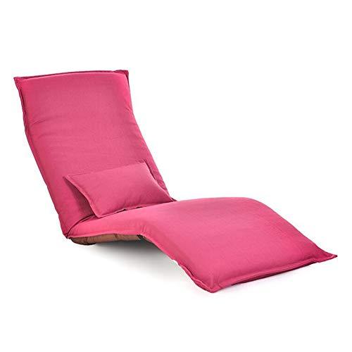 Dall Freizeit Lazy Sofa Chair Wohnheim Falten Einstellbar Metallrahmen Boden Stuhl Angenehm Weich Abnehmbare Wash (Color : Pink) -