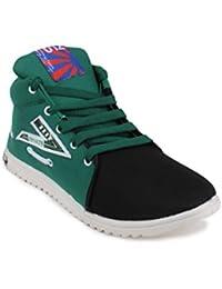 11E HIGH NECK BLACK & GREEN CASUAL SHOE