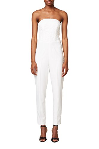 ESPRIT Collection Damen Jumpsuit 038EO1L001, Weiß (Off White 110), 40