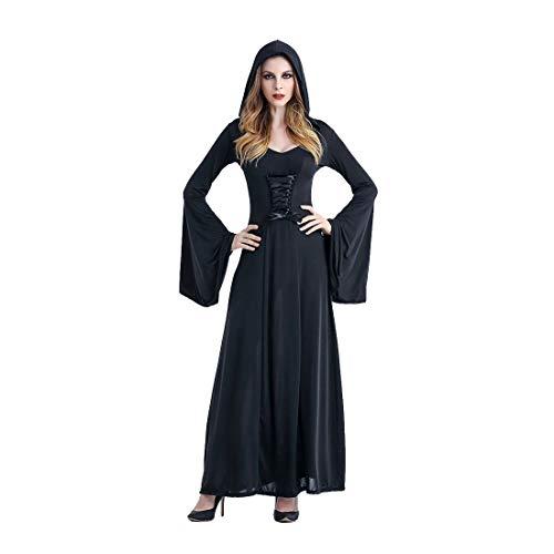 HOOLAZA Schwarze Frauen Rollenspiele Vampire Hexe Dämon Kostüm Gericht Glocke Ärmel Mit Kapuze Langes Kleid