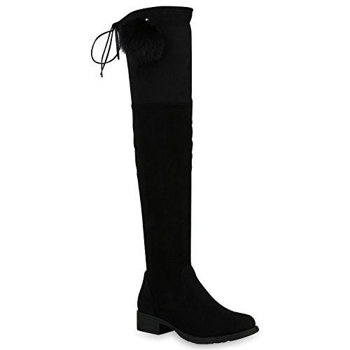 Damen Schuhe Overknees Leicht Gefütterte Stiefel Velours Leder-Optik 152677 Schwarz Schleifen Avelar 38 Flandell
