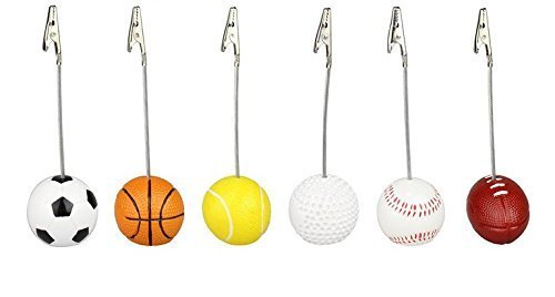 URGrace 6Pcs Golf Rugby Football Baseball Design Alligator Wire Recipe Desk Card Note Picture Memo Clip Holder Resin Craft Home Decoration Desk Small Clamps Stand for Office Supplies Accessories