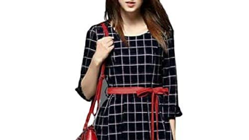 Fashion205 The Fashion Club Women's Rayon Stitched Dress (Black & White)