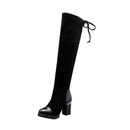 Stiefel damen Kolylong® Frauen Elegant Lange Stiefel mit absatz Herbst Winter Warm Stiefel Über Knie Vintage Martin Stiefel Schneestiefel Mädchen Winterstiefel (39, Schwarz) (Pelz-knie-boot)